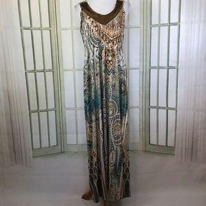 Live and Let Live Slinky Embellished Maxi Dress